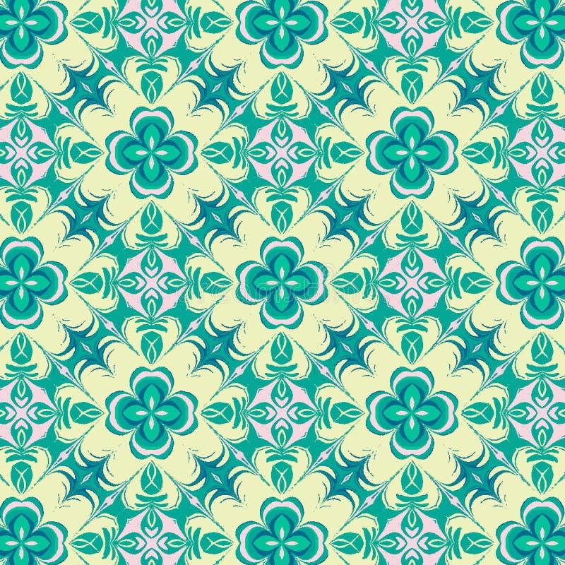 Teste padrão de repetição simétrico verde e amarelo bonito floral ilustração stock