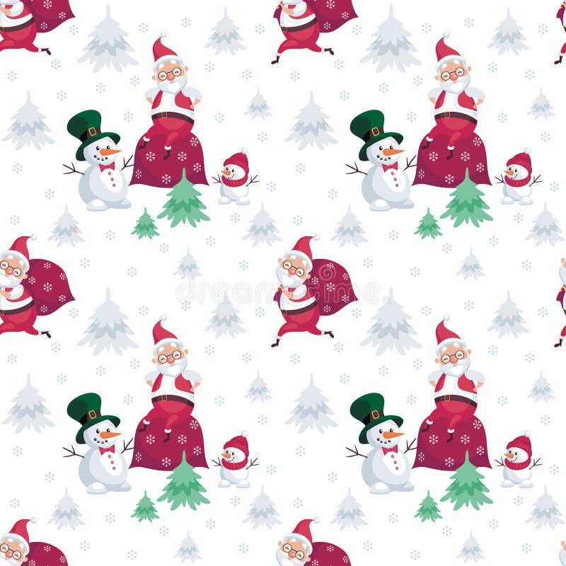 Teste padrão de Santa e de bonecos de neve ilustração do vetor