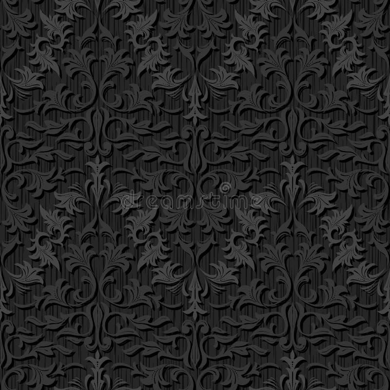 Teste padrão de seda preto sem emenda do papel de parede ilustração do vetor