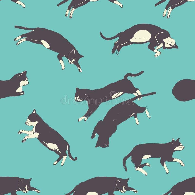 Teste padrão de sono doce tirado mão dos gatos ilustração do vetor