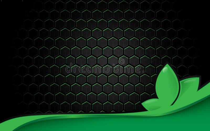 Teste padrão de superfície futurista preto abstrato do hexágono com fundo do conceito da ecologia das linhas verdes ilustração royalty free
