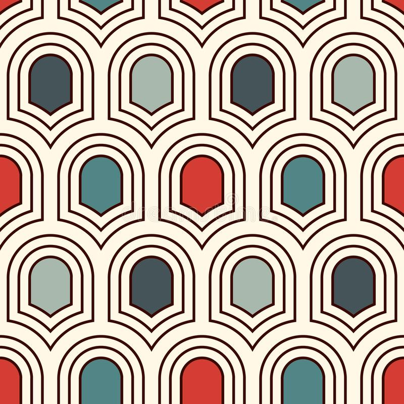 Teste padrão de superfície sem emenda com os protetores antigos repetidos Figuras geométricas fundo Ornamento simples com motivos ilustração do vetor