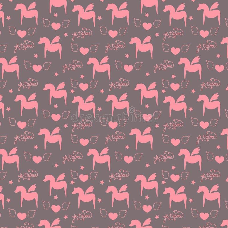 Teste padrão de superfície sem emenda, romântico, Valentim, de menina, horas de pegasus do amor com asas, coração, rotulação cali ilustração royalty free