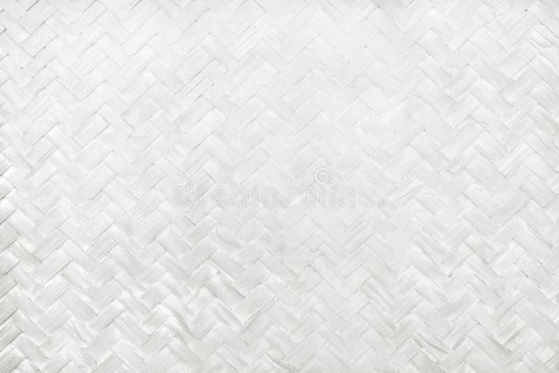 Teste padrão de tecelagem de bambu branco, textura tecida da esteira do rattan para o fundo e trabalho de arte do projeto ilustração stock