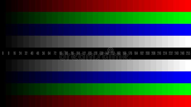 teste padrão de teste da televisão do inclinação da tevê RGB de 8K 7680x4320 para ajustar a tela, matiz 0-255 ilustração royalty free
