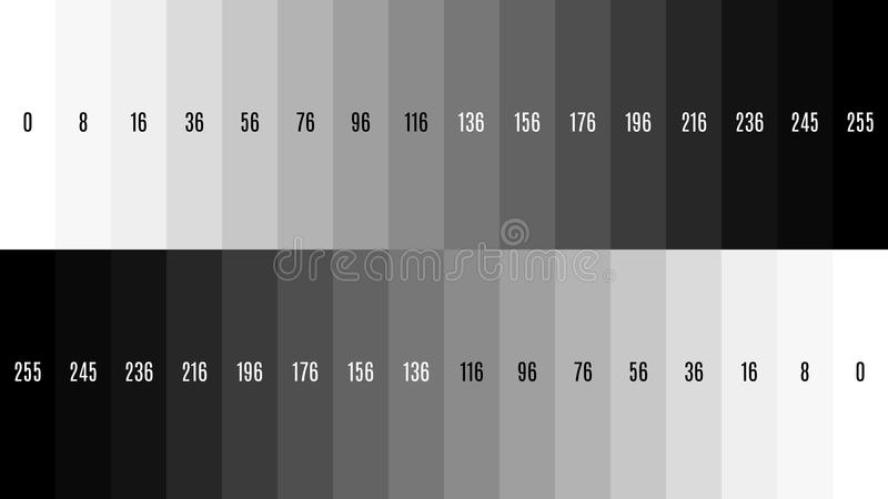 teste padrão de teste preto e branco da televisão do inclinação da tevê de 8K 7680x4320 para ajustar a tela, matiz 0-255 ilustração royalty free
