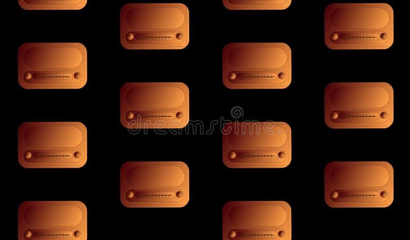 Teste padrão de um volume de bronze do rádio retangular do moderno do vintage antigo retro velho, receptores de rádio da música c ilustração royalty free