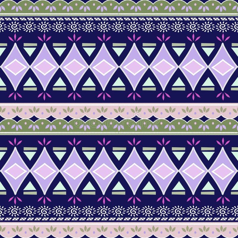 Teste padrão de ziguezague abstrato para o projeto da tampa Fundo retro do vetor da viga Cores orientais azuis sem emenda decorat ilustração stock