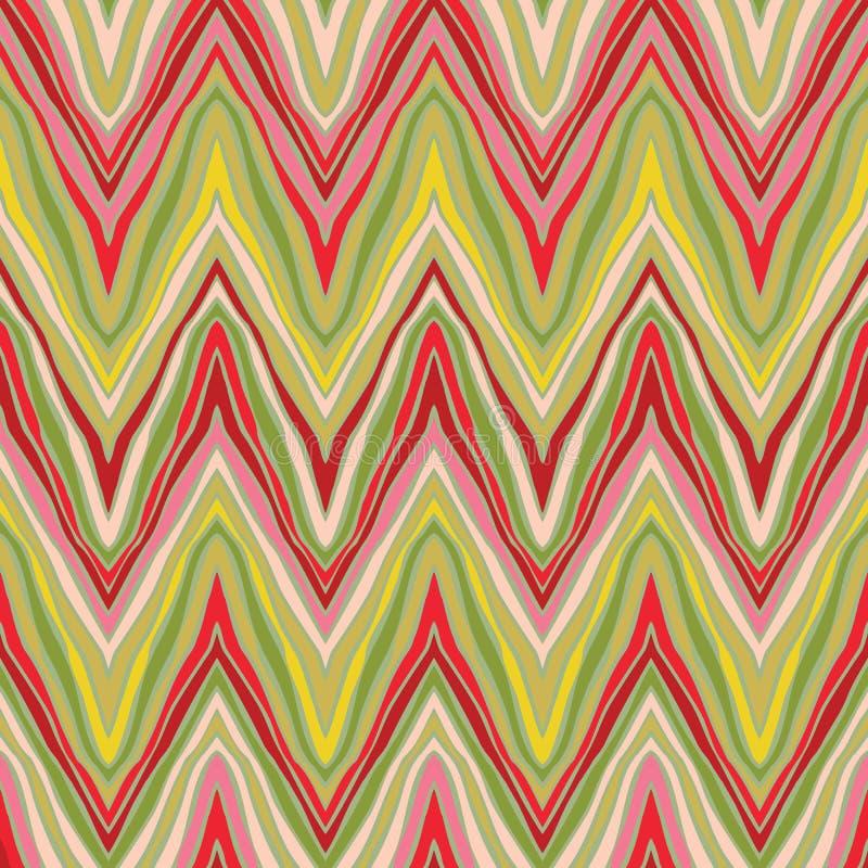 Teste padrão de ziguezague linear psicadélico ilustração royalty free