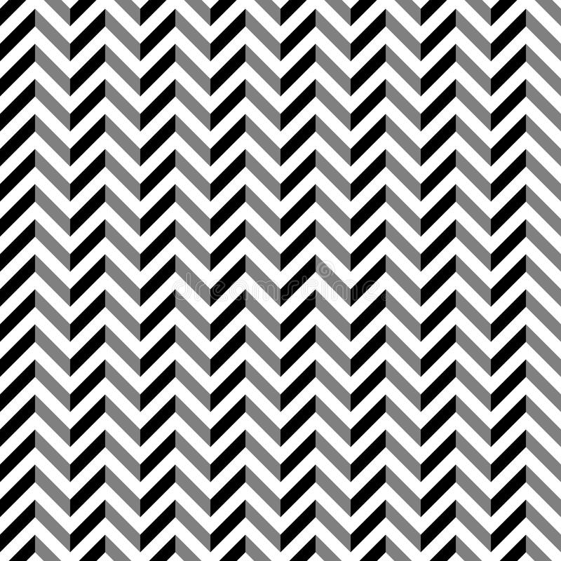 Teste padrão de ziguezague preto e branco do estilo do vintage ilustração do vetor