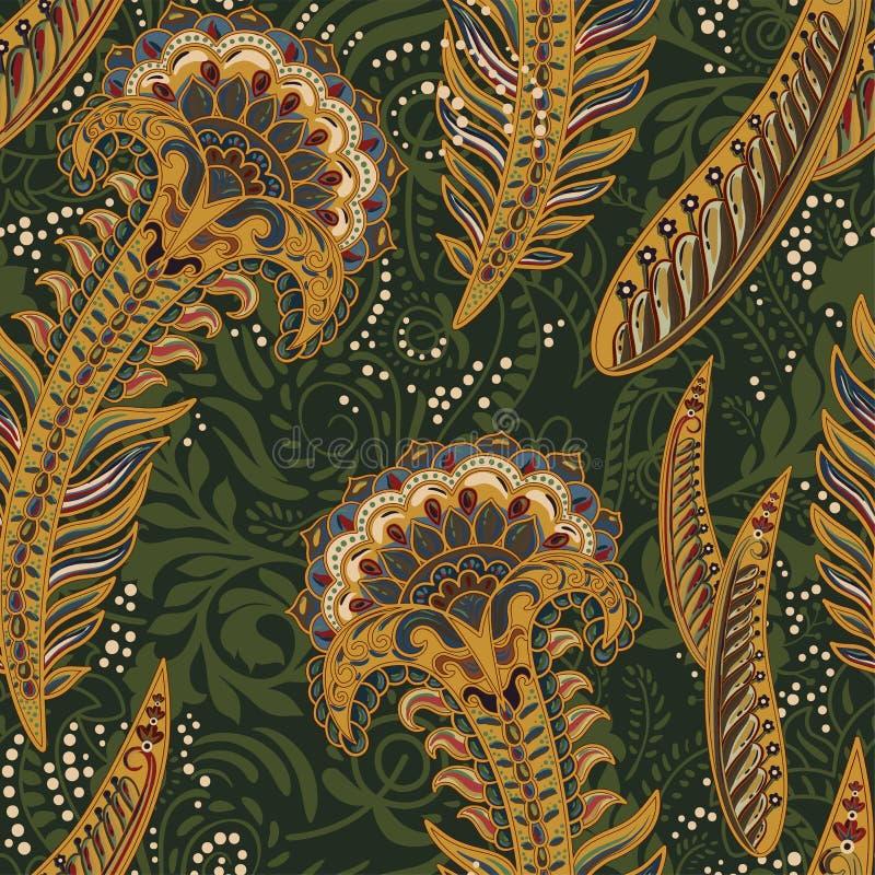 Teste padrão decorativo colorido Origem étnica com penas do pavão, estilo indiano ilustração royalty free