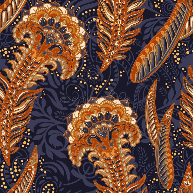 Teste padrão decorativo colorido Origem étnica com penas do pavão, estilo indiano ilustração stock