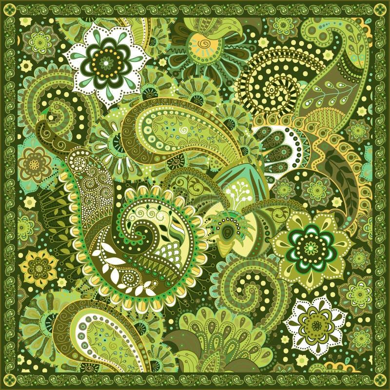 Teste padrão decorativo de Paisley, projeto para o quadrado do bolso, matéria têxtil, xaile de seda ilustração do vetor