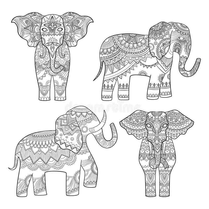 Teste padrão decorativo do elefante O projeto real tribal do motivo indiano para adultos coloriu ilustrações do vetor das páginas ilustração royalty free