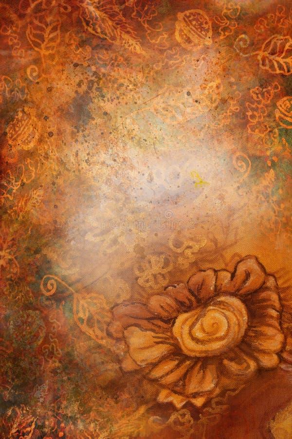 Teste padrão decorativo do fundo com muitos ornamento diferentes em tons mornos ilustração royalty free