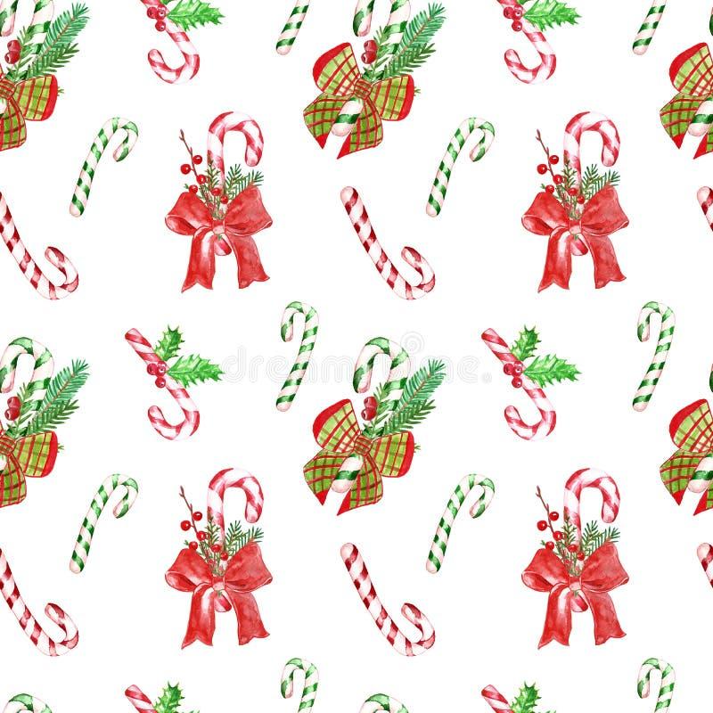 Teste padrão decorativo do Natal da aquarela com ramos das hortaliças, bastões de doces, azevinho, bagas vermelhas, fita Projeto  ilustração stock