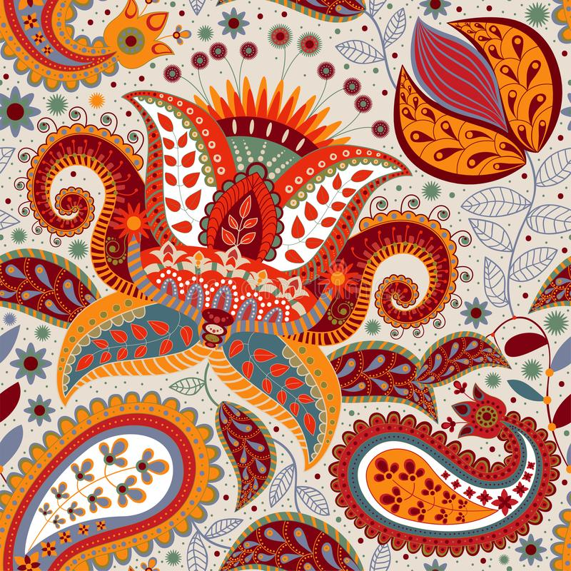 Teste padrão decorativo floral colorido para a matéria têxtil, tampa, papel de parede, tela Fundo étnico do vetor com geométrico ilustração do vetor