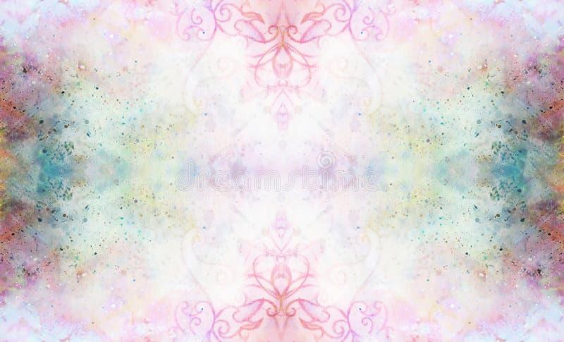 Teste padrão decorativo no fundo abstrato multicolorido com pontos ilustração royalty free