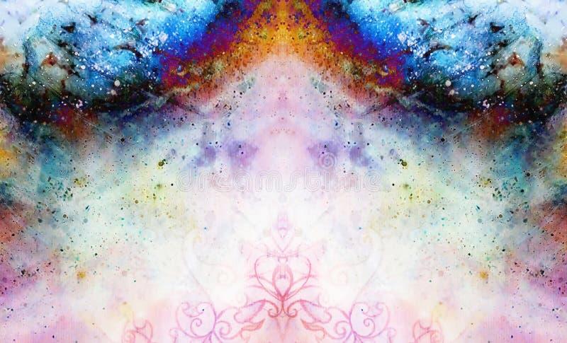 Teste padrão decorativo no fundo abstrato multicolorido com pontos ilustração do vetor