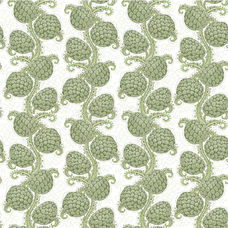 Teste padrão decorativo sem emenda grande de cones de lúpulo ilustração royalty free