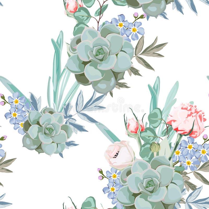 Teste padrão delicado do jardim das férias de verão do Eustoma das flores Rosas, peônia, anêmonas e eucalipto, planta carnuda ilustração do vetor