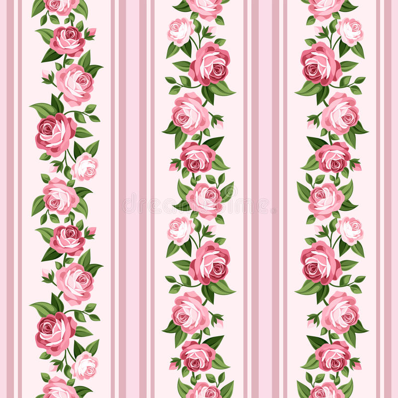 Teste padrão descascado sem emenda do vintage com rosas cor-de-rosa ilustração royalty free