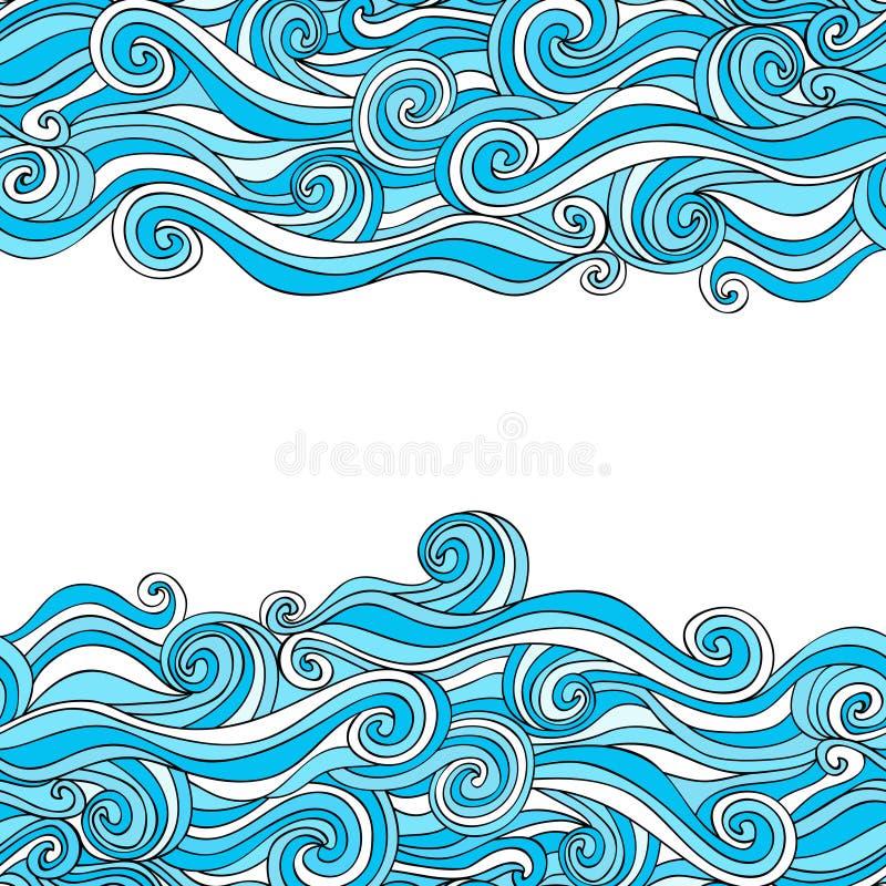 Teste padrão desenhado à mão abstrato colorido, fundo das ondas ilustração royalty free