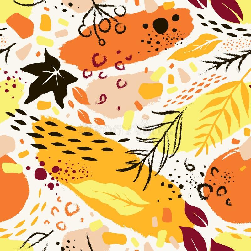 Teste padrão desenhado à mão abstrato sem emenda do outono ilustração do vetor