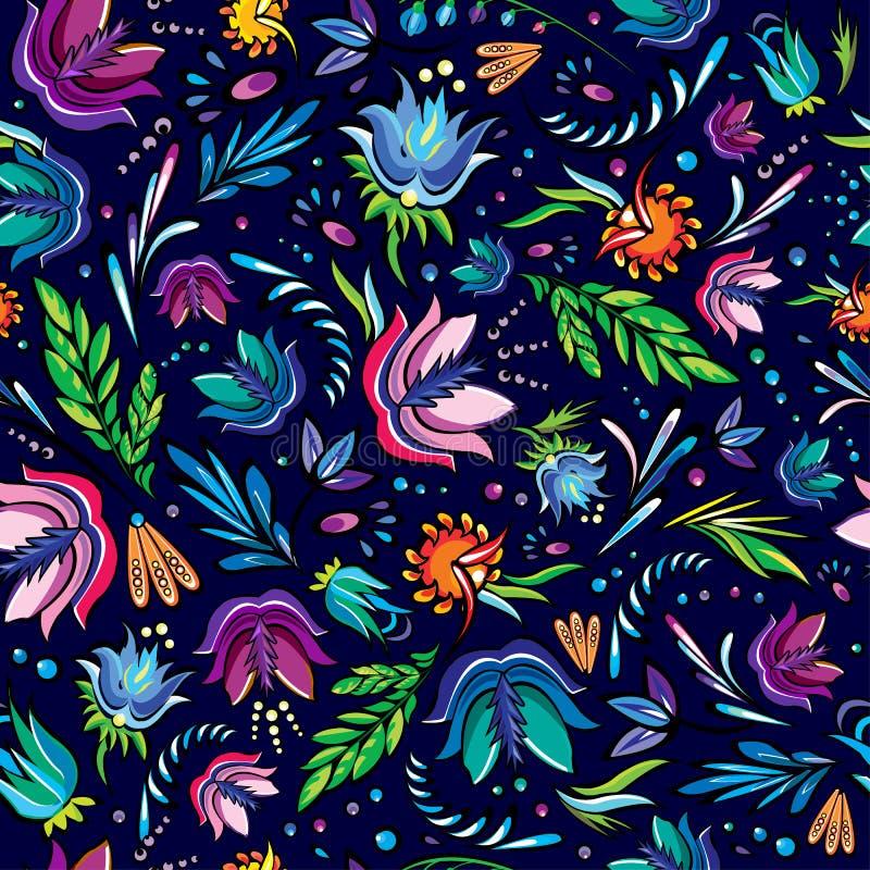 Teste padrão desenhado à mão dos desenhos animados sem emenda com flores ilustração royalty free