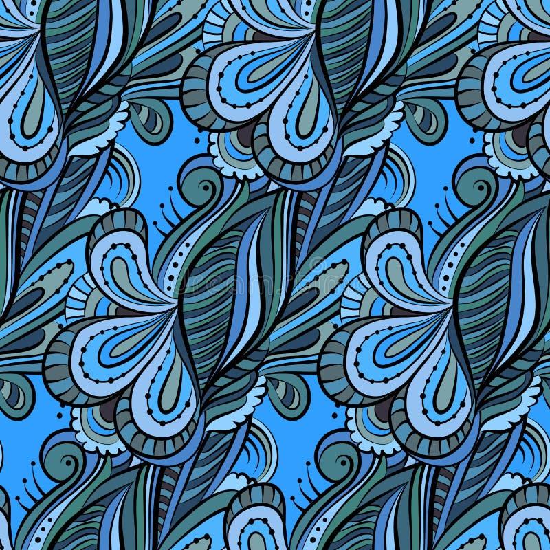 Teste padrão desenhado à mão dos desenhos animados sem emenda com flores. Floral infinito ilustração royalty free
