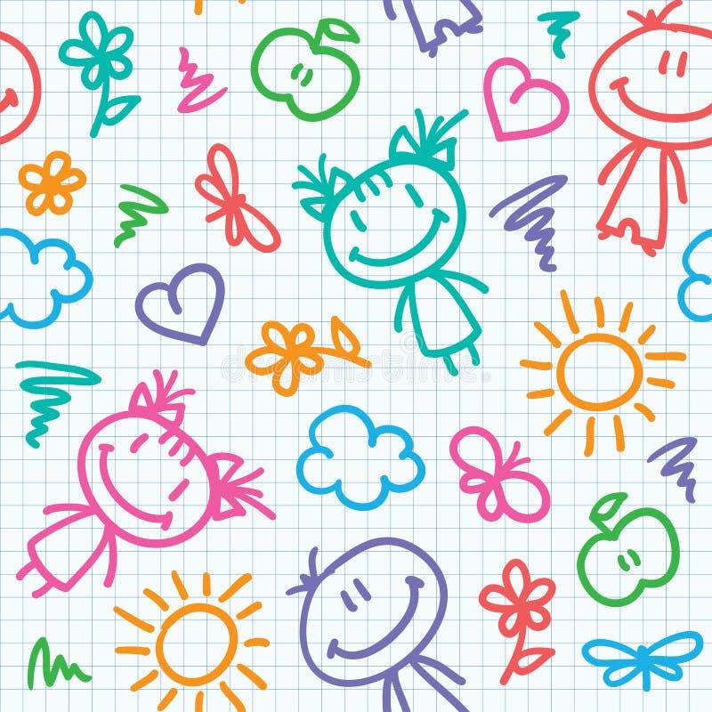 Teste padrão desenhado mão do miúdo ilustração royalty free