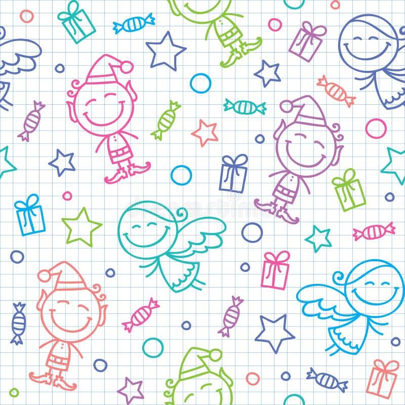 Teste padrão desenhado mão do Natal ilustração royalty free