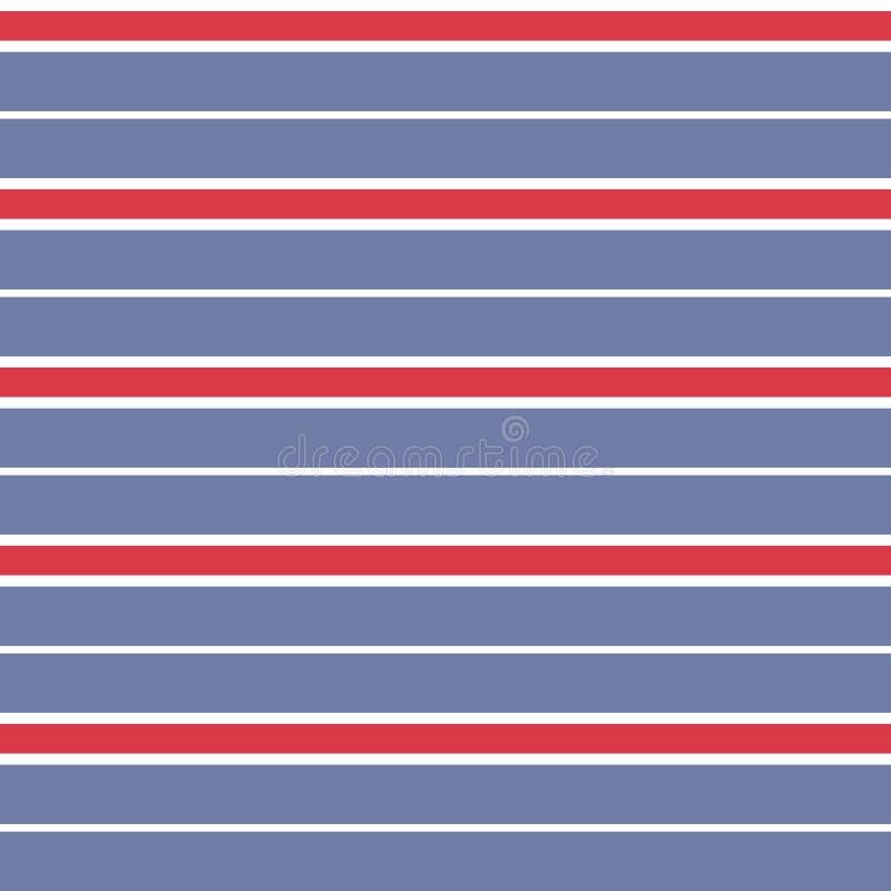 Teste padrão desigual da listra do vetor sem emenda com fundo azul paralelo horizontal colorido das listras vermelhas, o branco,  ilustração do vetor