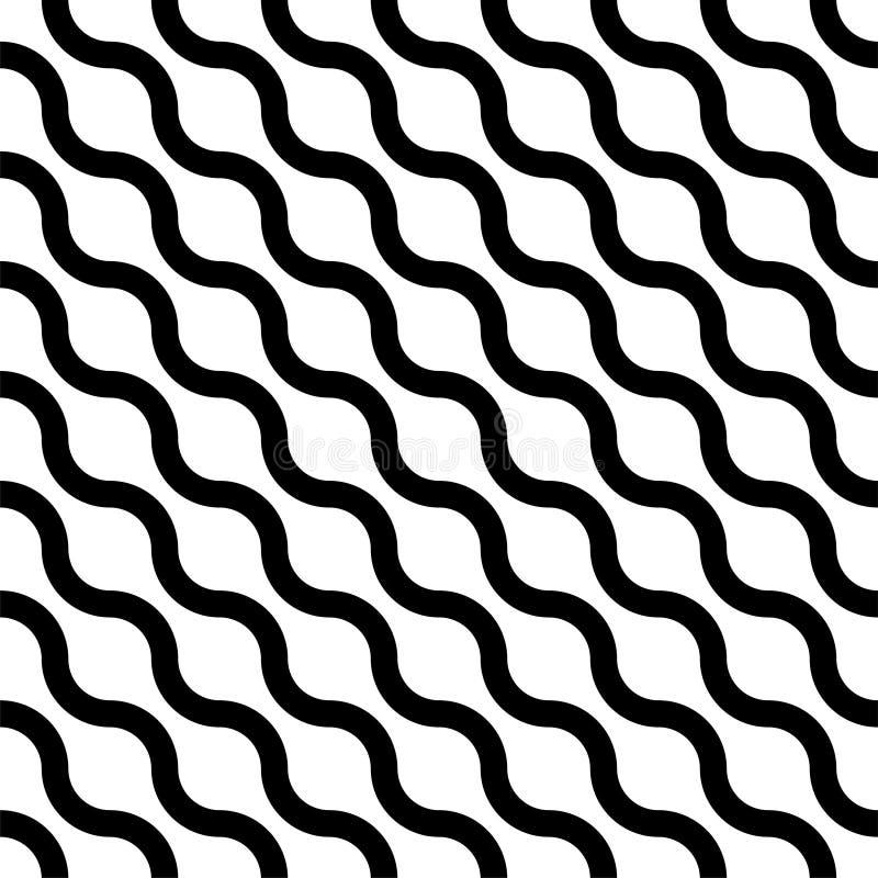 Teste padrão diagonal listrado sem emenda ondulado Fundo infinito simples do vetor Textura preto e branco geométrica criativa ilustração stock