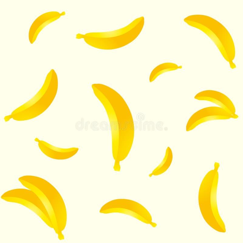 Teste padrão diferente sem emenda da banana dos tamanhos isolado no fundo claro ilustração royalty free