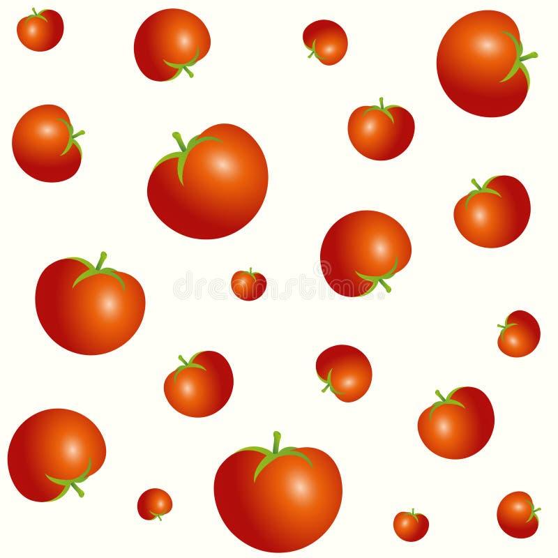 Teste padrão diferente sem emenda dos tomates dos tamanhos isolado no fundo claro ilustração do vetor