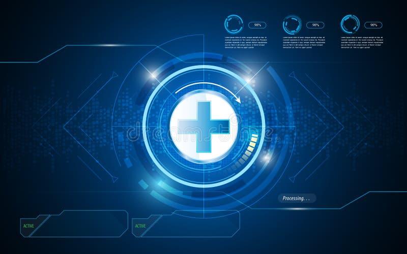 Teste padrão digital do círculo da textura dos cuidados médicos com fundo interativo do botão ilustração royalty free