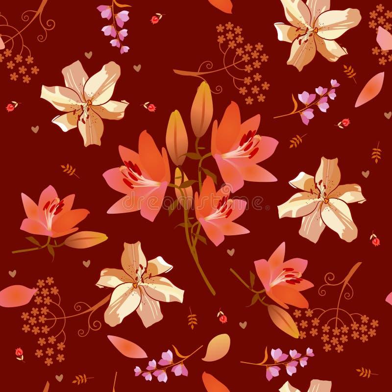 Teste padr?o ditsy floral sem emenda com rosa e flores douradas do l?rio, folhas min?sculas e tulipas no fundo marrom morno C?pia ilustração royalty free