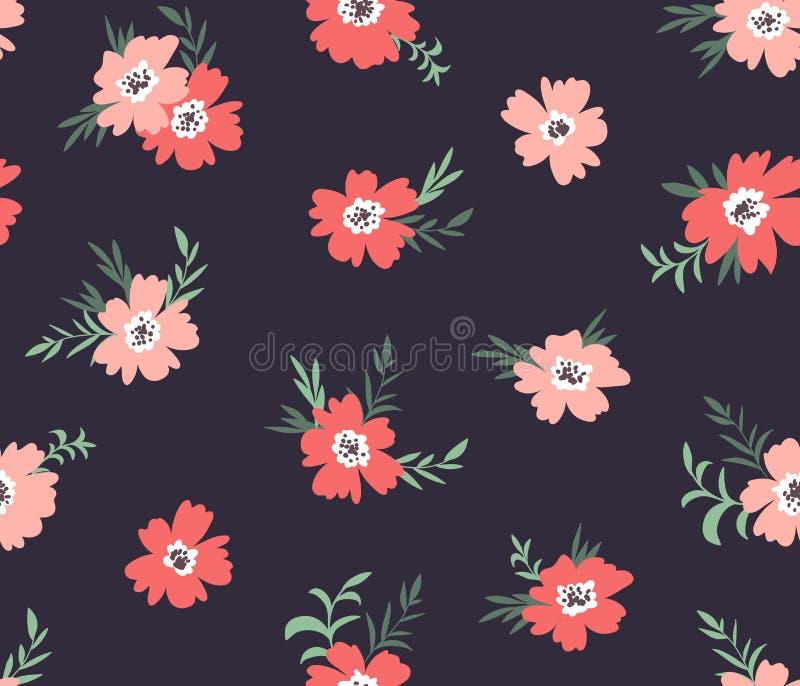 Teste padrão ditsy floral sem emenda do vetor na moda Projeto da tela com as flores simples no fundo escuro ilustração do vetor