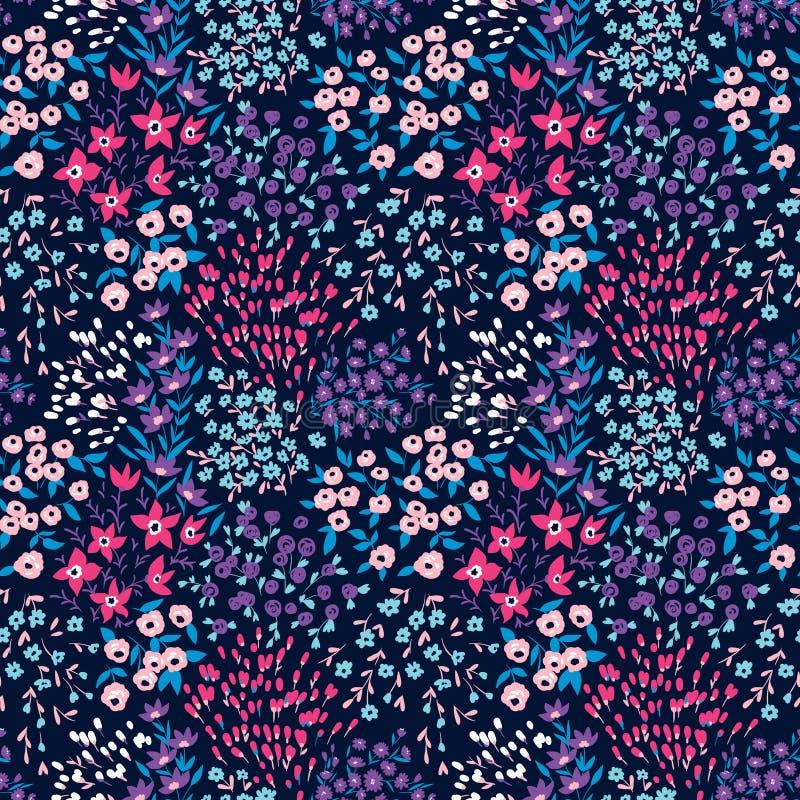 Teste padrão ditsy floral sem emenda do vetor na moda Projeto da tela com flores simples ilustração stock