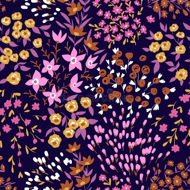 Teste padrão ditsy floral sem emenda na moda Projeto da tela com flores simples Fundo sem emenda do vetor ilustração do vetor