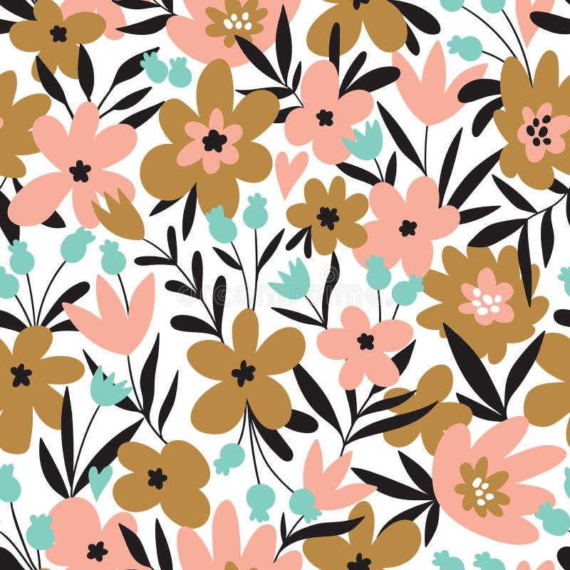 Teste padrão ditsy floral sem emenda na moda Projeto da tela com flores simples Teste padrão repetido bonito do vetor ilustração stock