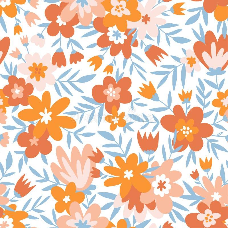 Teste padrão ditsy floral sem emenda na moda Projeto da tela com flores simples Teste padrão repetido bonito do vetor ilustração do vetor