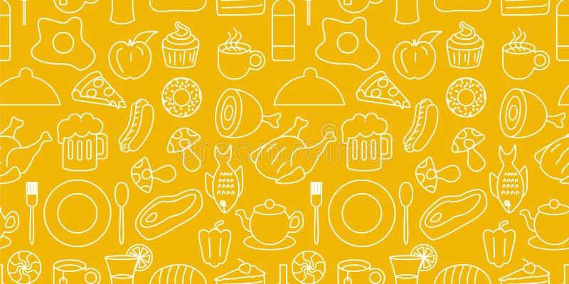 Teste padrão do alimento com mão sem emenda a placa, a forquilha, a colher, cerveja, o macarronete, o ovo, e carne tirados na ilu ilustração do vetor