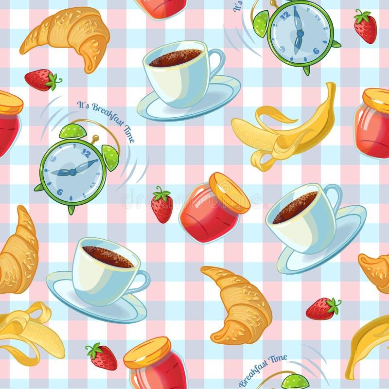 Teste padrão do alimento de café da manhã ilustração do vetor