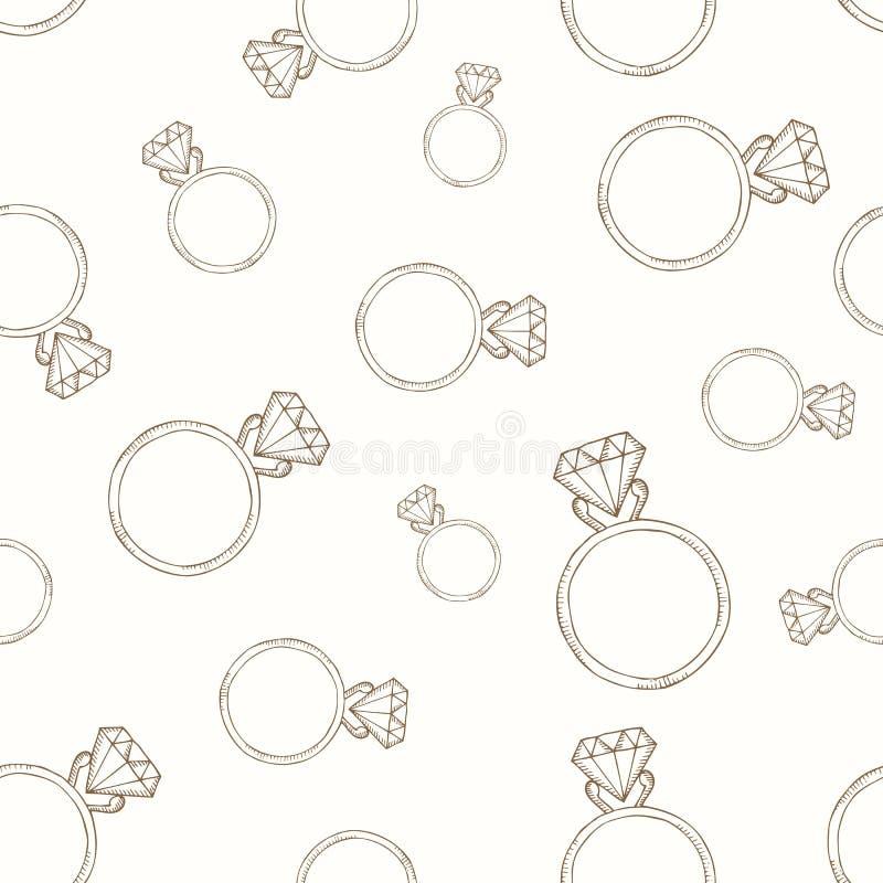 Teste padrão do anel de diamante ilustração do vetor
