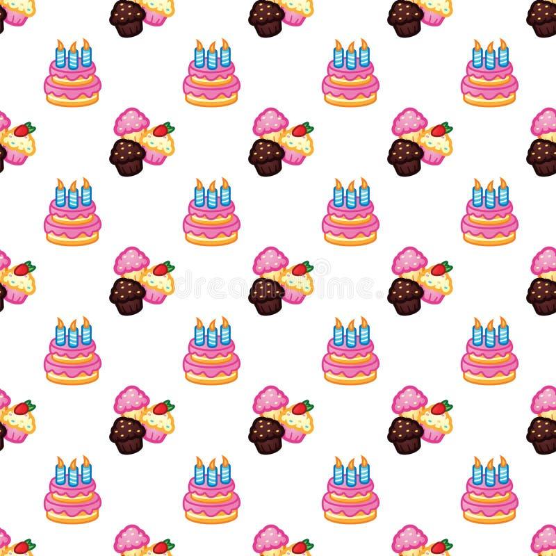 Teste padrão do aniversário Bolo de aniversário com velas para o partido da celebração, bolo, queques dos confeitos Evento, celeb ilustração royalty free
