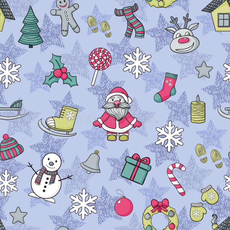 Teste padrão do ano novo feliz e do Feliz Natal do vetor ilustração stock