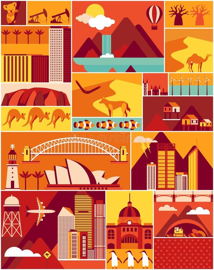 Teste padrão do australiano dos desenhos animados ilustração stock