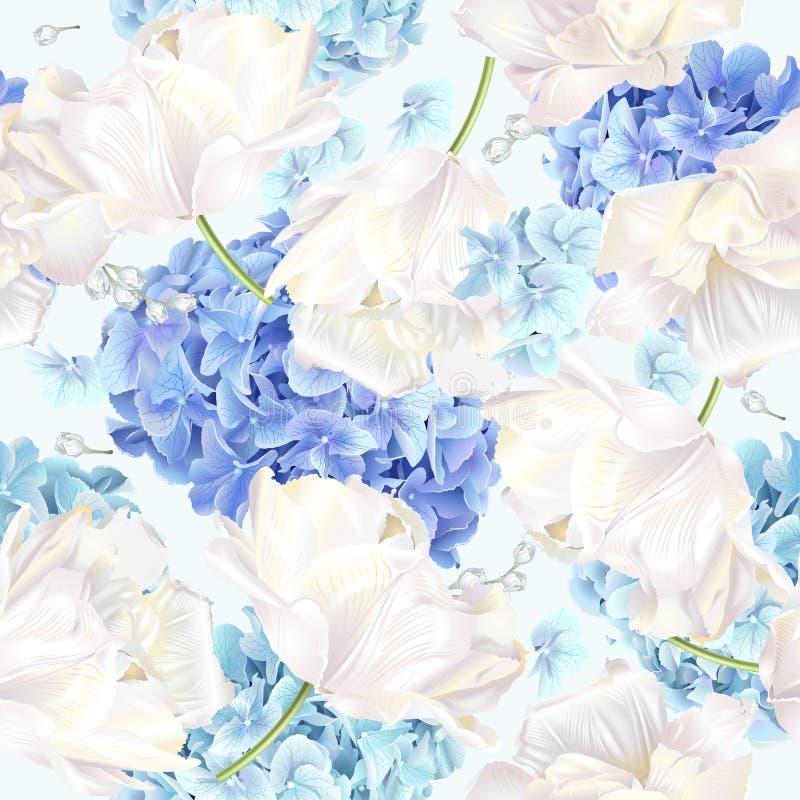 Teste padrão do azul da tulipa de Hidrangea ilustração royalty free
